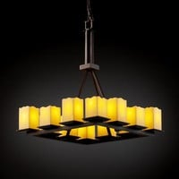 Justice Design Group CNDL-8663-19-AMB-DB CandleAria Montana Twelve-Light Tall Ring Chandelier