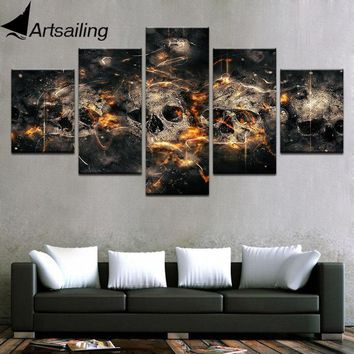 5 Piece horror skull Painting large Canvas Wall Art huge Modern Decor Printed Painting Canvas Pictures for Living Room