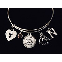 A Family's Love is Forever Expandable Charm Bracelet Silver Adjustable Bangle
