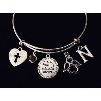 A Family's Love is Forever Expandable Charm Bracelet Silver Adjustable Bangle Trendy Gift Angel Cross Custom Options Available