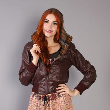 70s Cropped LEATHER JACKET with HOOD / Oxblood Tiny Fit Coat Plaid Wool Lining, xs-s