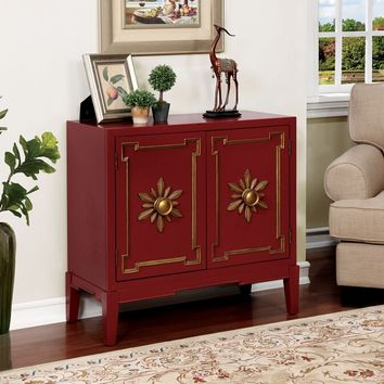 Furniture of america CM-AC304RD Nayeli collection red finish wood hallway storage cabinet console