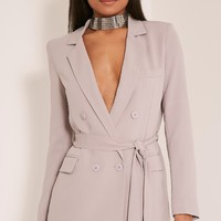 Rebecca Light Grey Belted Blazer