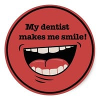Red Big Smile Dentist Sticker