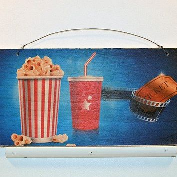 Wooden Wall Sign 10x5 - C002 - Movie popcorn and ticket