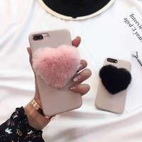 lovely 3D heart pink Fox Fur Ball soft pink leather Phone Case For iPhone 6 6S 7 8 Plus 8 cover