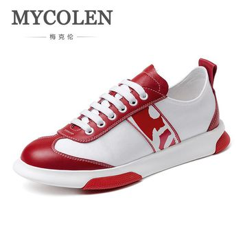 MYCOLEN Breathable Air Casual Shoes Men's Height Increasing Soles Light Shoes Hard-Wearing Lace-Up Male Shoes Tenis Preto