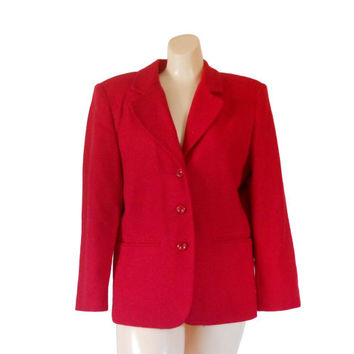 Women Red Blazer Wool Blazer Women Christmas Clothing Christmas Clothes Women Blazer Jacket Ladies Blazer Ladies Clothing Sag Harbor Vintage