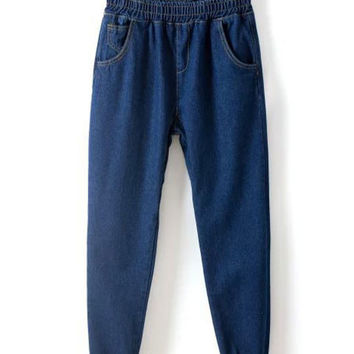 Blue Elastic Waistband Denim Harem Pants