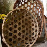 "Antique Gathering Basket, Shaker Cheese Basket, Large Tobacco Basket, 25"" Round Wall Basket, Primitive Country Decor"
