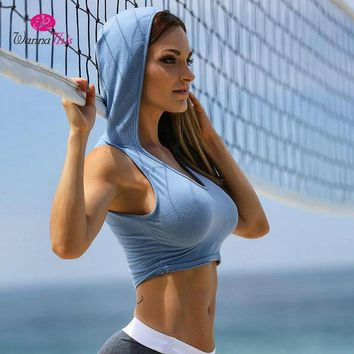 WannaThis Hooded Sweatshirts Women Workout Sleeveless Short Crop Tops Sexy Solid Blue Hoodies Tank Tops Knitted 2018 Summer Tees