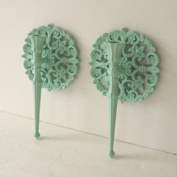 Candle Sconce Set Of Two Vintage 1978 Ornate Painted Aqua Mint Shabby Cottage Chic Home Decor
