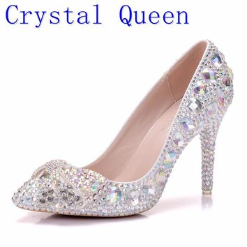 High Heel Shoes Crystal Bridal Wedding Shoes Diamond Butterfly Rhinestone