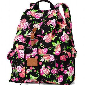 VICTORIA'S SECRET PINK NEON FLORAL BLACK SCHOOL BAG BACKPACK BOOKBAG TOTE NEW!