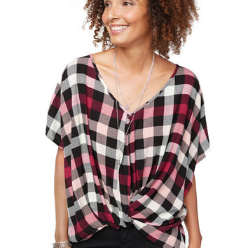 Twisted Plaid V Neck Blouse
