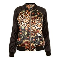 ZLYC Women's Leopard Cool Black Studded Raglan Sleeve Jacket