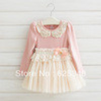 Retail- Free Shipping New Autumn Fashion Pearl Girl's Baby dress Lace Girls Dress Children's dresses Kids wear Kids clothes - Default
