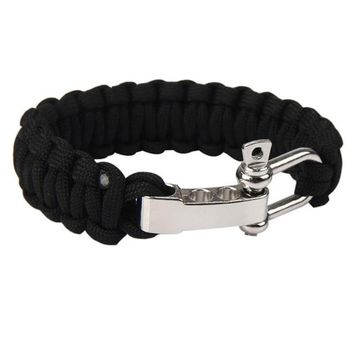 Black ParaCord Rope Outdoor Survival Bracelet Camping Steel Shackle Buckle Military Self-Rescue Survival Bracelet Whistle Kit