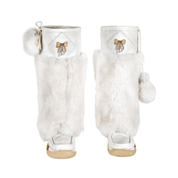 Frosty White Leather Mukluks with Gold Embroidery