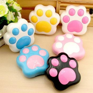 Cartoon Cute Dog Paw Contact Lens Case Storage Box Plastic Mini Contact Lenses Box Container Holder With Mirror Storage NXH1497