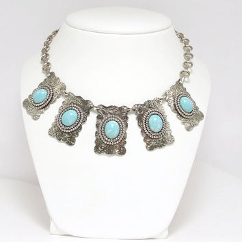 Art Nouveau Vintage Silver Plate and Turquoise Glass Linked Necklace or Collar