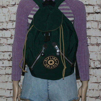 Kipling Backpack Green Book bag Rucksack Canvas Day Pack Drawstring Hipster Grunge Punk Cyber Goth Festival Mens Jansport Dark Pastel