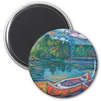 Canoes at Mountain Lake 2 Inch Round Magnet