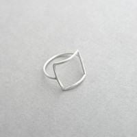 Open square ring sterling silver, geometric ring, dainty minimalist square ring, everyday jewelry