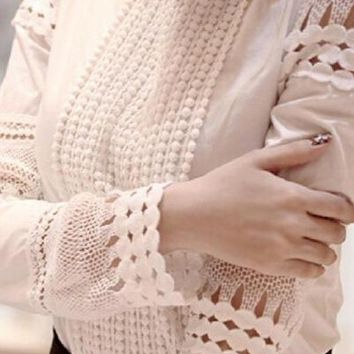 Cutout long-sleeve Shirt White Shirt OL Work Wear Lace Blouse Tops