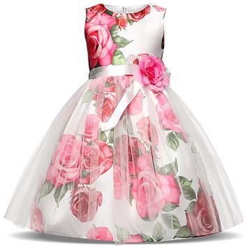 New Summer Floweer Children Kids Formal Wear Princess Dress