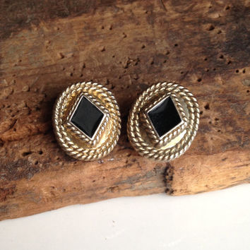 Vintage Earrings, Post Earrings, Black Inside Brass, Etsy, Etsy Jewelry, Jewelry on Etsy