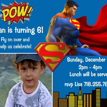 Superman Personalized Birthday Party Invitations