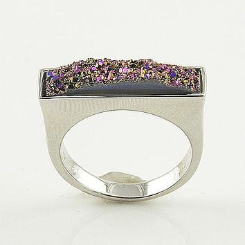 Titanium Drusy - Sterling Silver Oblong Ring - keja jewelry