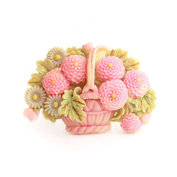 Pink Celluloid Flower Basket Brooch