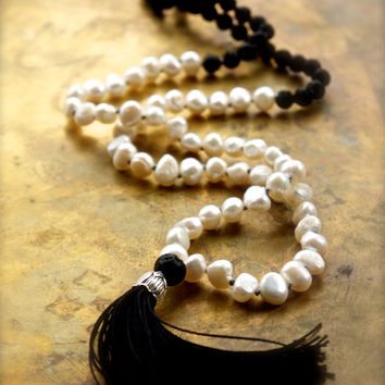 Black and white mala with pearls and black lava stone Modern minimal mala beads Volcanic rock bohemian hippie necklace Black silk tassel