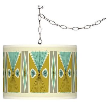 Swag Style Giclee Shade Plug-In Chandelier