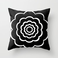Black and white flower Throw Pillow by Laureenr