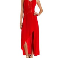 Strappy Front Slit Maxi Dress by Charlotte Russe