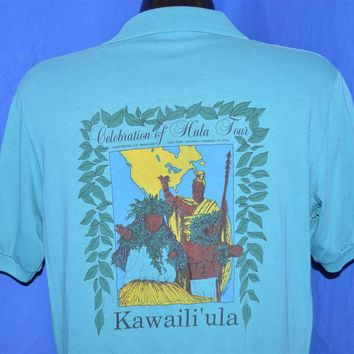 80s Kawaili'ula Celebration of Hula Hawaii Polo Shirt Large