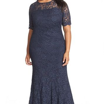Plus Size Women's Xscape Short Sleeve Shimmer Lace Gown,