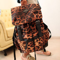 Punk Style Leopard Print Backpack&School Bag-nice