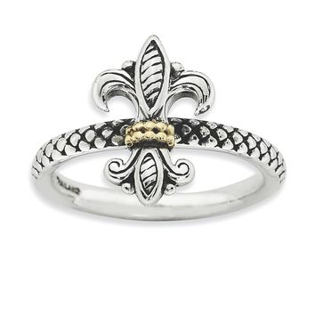 Sterling Silver & 14k Gold Stackable Expressions Antiqued Ring