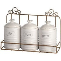 The White Collection Kitchen Jars with Stand