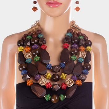 Multi Layered Faceted Wood Beaded Bib Necklace