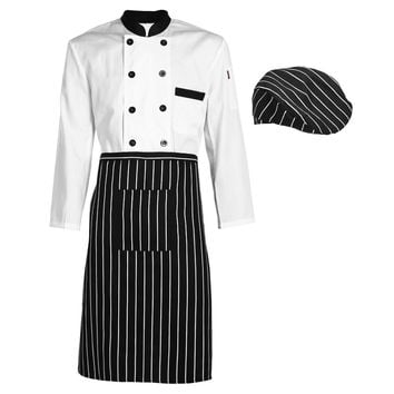 Long Sleeve Kitchen Cooker Working Uniform Chef Waiter Waitress Coat Double Breast Waiter Waitress Suit  SN9