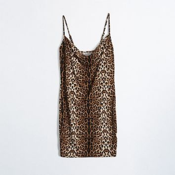 Spaghetti Strap Leopard Print Sexy One Piece Dress [510297997366]