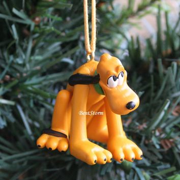 Licensed cool Custom Disney Pluto dog Mickey Mouse friend Christmas Ornament PVC Figure NEW