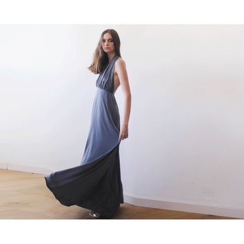 Halter neck backless grey maxi gown - Taupe