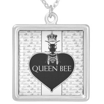 Queen Bee & Crown Silver Plated Necklace