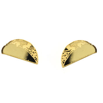 Taco Earrings in Mirror Gold